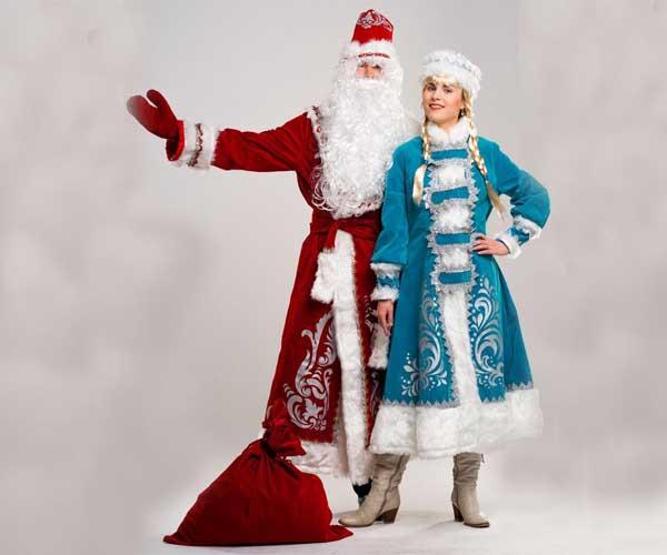Дедушка Мороз и Снегурочка в костюмах Аппликация.
