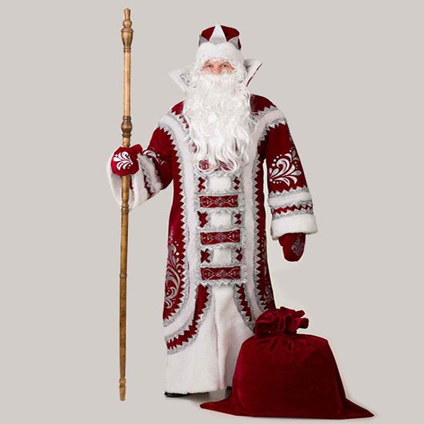 Купеческий Костюм Деда Мороза бордового цвета в Волгограде