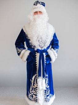 Костюм Деда Мороза Боярский синий в Волгограде